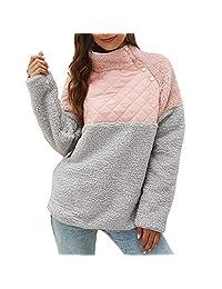 DRAGONHOO Sweatshirts for Women Warm Long Sleeves Button Geometric Pattern Fleece Pullover Sweatshirts Blouse Loose Tops