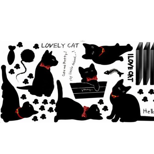 Amazon.com: Black Cats Home Family Removable Room Wall Sticker Paper Mural Art Decal Decor: Home & Kitchen