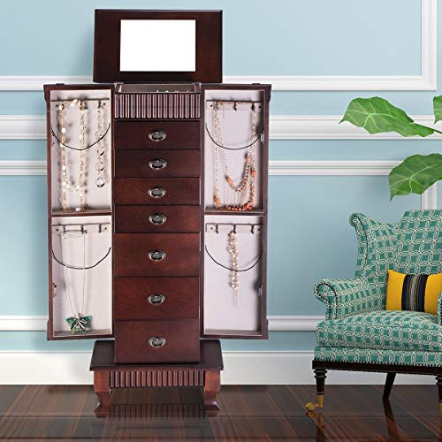 (GentleShower Jewelry Cabinet with Mirror Jewellery Box Organizer Wooden Jewelry Storage Armoire Hanging 7 Drawers Large Capacity)