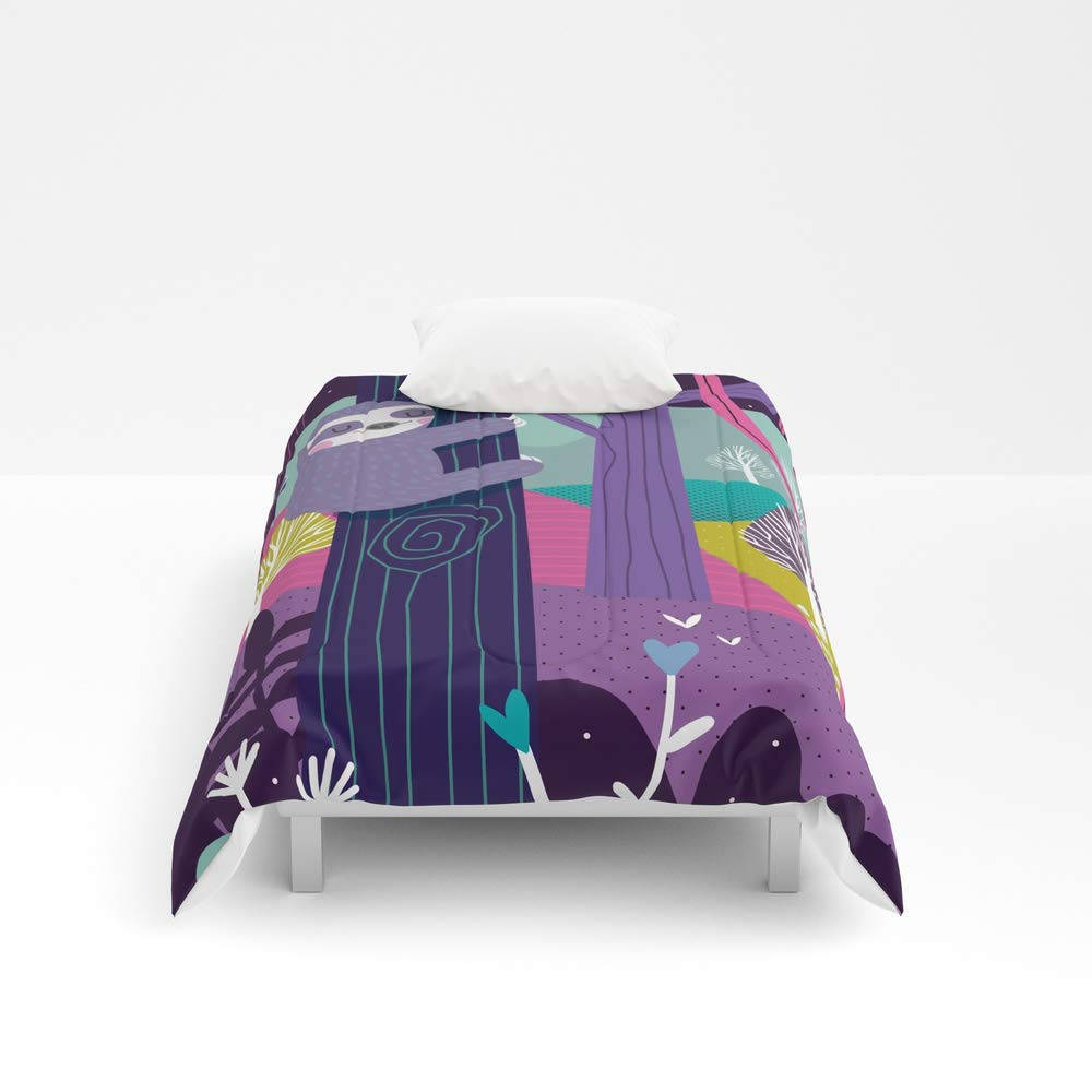 Society6 Comforter, Size Twin: 68'' x 88'', Sloth in The Woods by mariajosedaluz