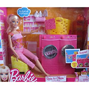 Amazon Com Barbie Spin To Clean Laundry Room Playset W