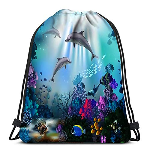 Drawstring Backpack The Underwater World With Dolphins And Plants Yoga Runner Daypack Shoe Bags