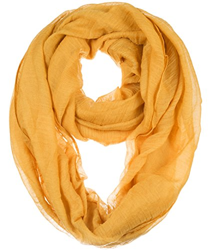 BYOS Womens Airy Crinkled Lightweight Soft Infinity Scarf Loop Snood in Solid Color (Mustard Yellow-B)