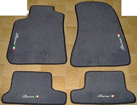 set completo di Tappetini in Moquette su Misura con Ricamo a Filo Bianco Tappeti Neri per Auto