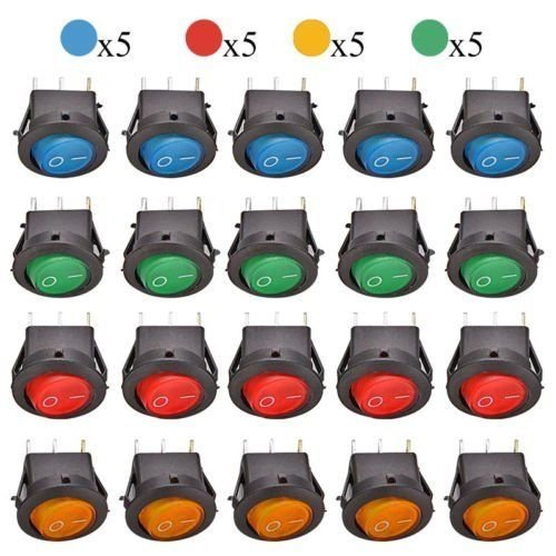 Blue Dot Led Switch - 20Pcs DC 12V 20A ON/OFF LED DOT ROUND ROCKER SPST TOGGLE SWITCH CAR BOAT (4 Colors: Red/Blue/Green/Yellow)