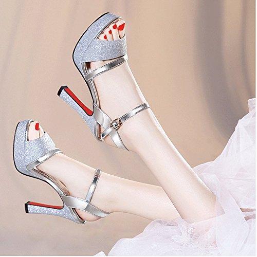amarillo Silver Mujer tacones confortables verano Moda 36 sandalias altos HnWa8v