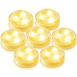AGPtek 10PCS Warm White Submersible Round LED Candle High Brightness Tea Vase Battery Light Outdoor Garden Pond Pool Bath Disco Bar Spa Tub Decoration Wedding Xmas Floral Decoration Candles