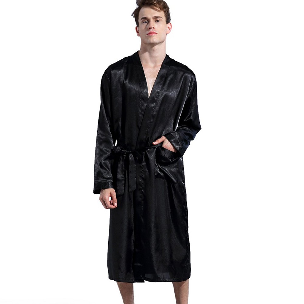 TheRobe Men's Satin Robe Lightweight Long Bathrobe Sleepwear Wedding Robes (Black, XL)