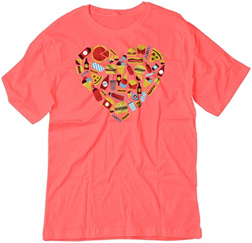 Price comparison product image BSW Youth Fast Food Heart Love Burger Pizza Fries Theme Shirt XS Raspberry