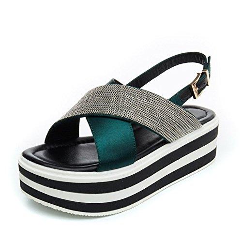 Sandalias Temporada Punta abierta de Cadena 001 Zapatos metal hembra Casual Aumentar leader con Beauty verano Muffins Hebilla Mujer de Colorblock z5BEq8