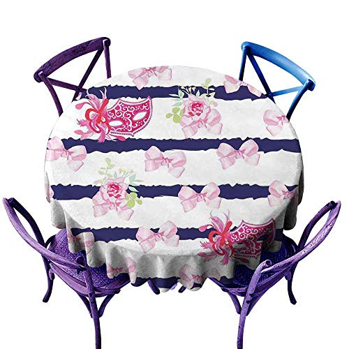 AndyTours Spill-Proof Table Cover,Masquerade,Venetian Style Carnival Masks on Stripes with Satin Bows Roses Flowers,Party Decorations Table Cover Cloth,67 INCH Pink White Blue ()