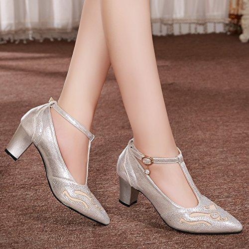 T Superficiale silvery Scarpe Scarpe Mezzo 6Cm Di Sexy donna bello Solo KPHY da Scarpe Tacco Signore Buckle Spessa fzRAq