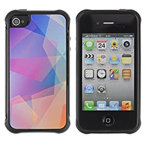 Hybrid Anti-Shock Defend Case for Apple iPhone 4 4S / Cool Abstract Pastel Pattern