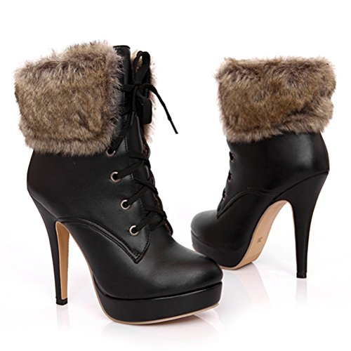 Agodor Womens Lace Up Platform Stiletto High Heel Ankle Boots With Faux Fur Warm Shoes Black saKIjCWo3