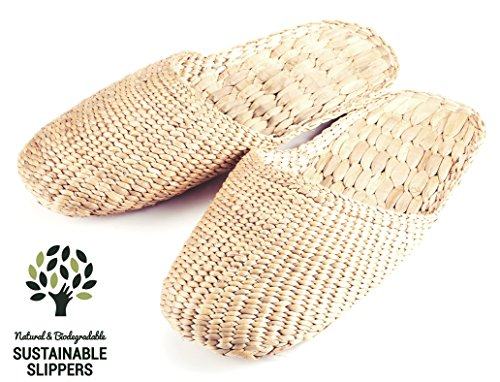 100% Natural Handmade Sandals / Slippers for Men and Ladies – Hand Woven Water Hyacinth – Knitted Style Medium (L10 x 3.5 approx.)