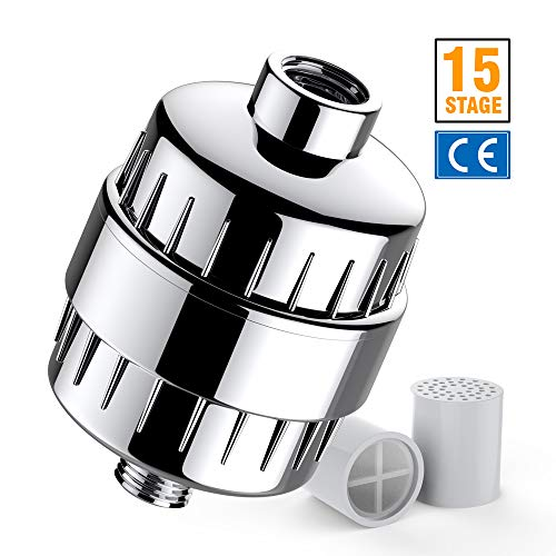 KOLLIEE Universal Shower Filter For Hard Water Replaceable Shower Water Filter With 2 Replacement Cartridge 15 Stage Showerhead Filters