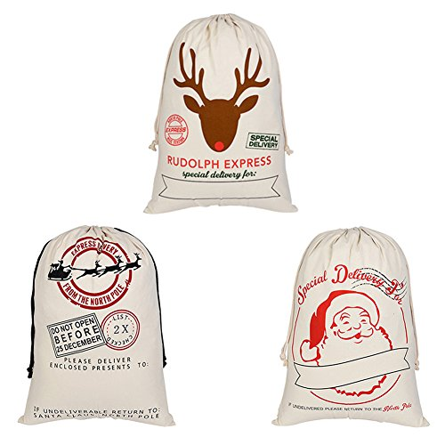 (Christmas Gift Bags For Kids Present, Messar Holiday Theme Tote Bag Durable Handle Canvas Bag Santa Sack Basket with Drawstring for Christmas Halloween Easter Party (A Sacks))