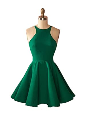 Graceprom Womens Spaghetti Straps Short Green Homecoming Dress Backless Prom Party Dress 2