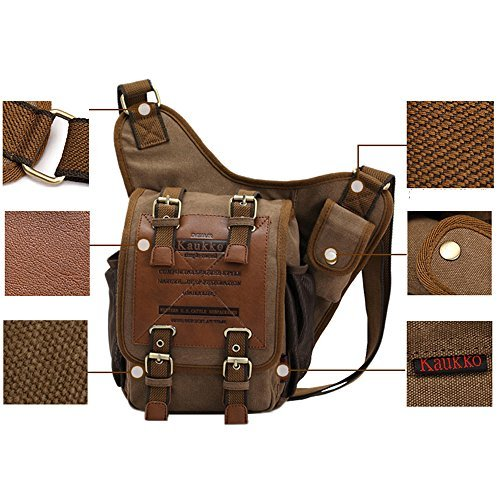 APG Men's Brown Canvas Leather Single Shoulder Cross Body Bag Military Messenger School Travel Hiking Satchel