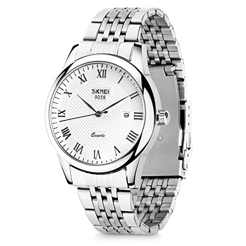 Quartz Silver Wrist Watch (Men's Quartz Watch, Aposon Classic Business Casual Wrist Analog Watches Roman Numeral Dress Waterproof Watch with Stainless Steel Band - Silver)