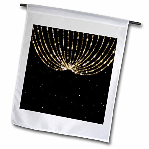 3dRose Anne Marie Baugh - Bling Glam - Image of Gold Chandelier String Lights Over A Black Confetti Background - 12 x 18 inch Garden Flag (fl_274027_1) (Ceiling Light Confetti)