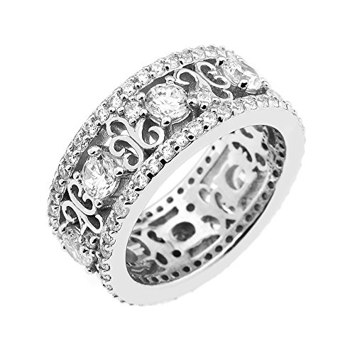 GEMOUR COLLECTION Pavé Filigree Stone Wide Band Sterling Silver Cubic Zirconia Ring ()
