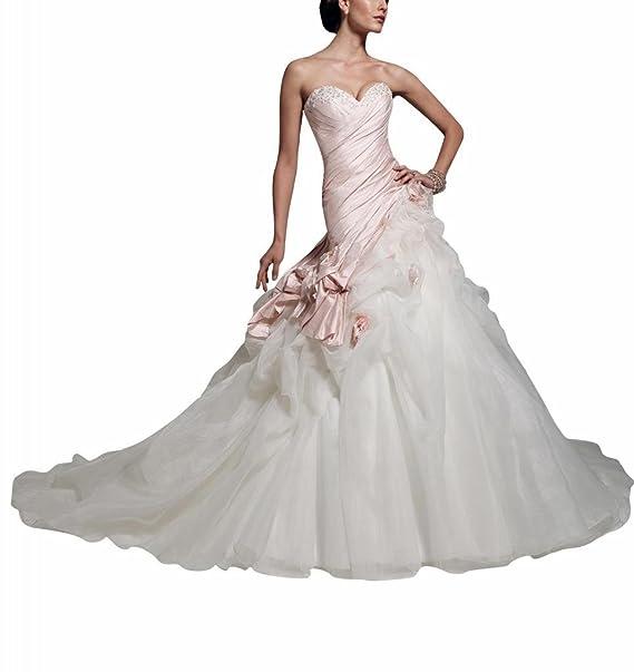 George Bride preciosos Medición Camisa Rosa tafetán con lencería Organza Capilla Tren Vestidos de novia Vestidos