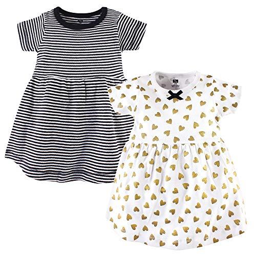 Hudson Baby Baby Girls Cotton Dress, 2 Pack, Black/Gold, 5 Toddler (5T)