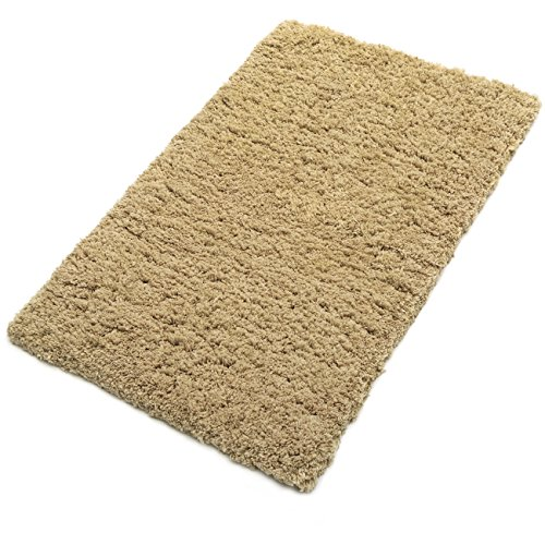 KMAT Bath Mat Non-Slip 20 x 32 inch Microfiber Bathroom Shower Rugs Soft Khaki Washable Absorbent Doormat Indoor Throw Rug for Bedroom Living Room ()