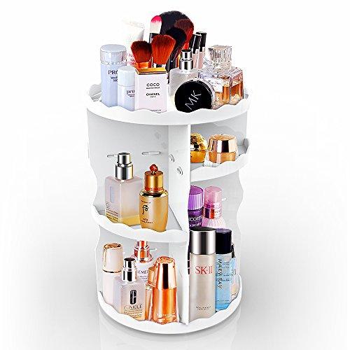 AOPETIO Adjustable Multi-Function Cosmetic Storage Box, 360 Degree Rotation Makeup OrganizerLarge Capacity (White Round)