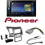 Pioneer AVH-200EX 2-Din 6.2 DVD/CD/iPhone/Android/Bluetooth Car Radio Stereo Single Double Din Taupe Dash Kit for 2006-2011 Honda Civic