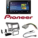 Pioneer AVH-200EX 2-Din 6.2″ DVD/CD/iPhone/Android/Bluetooth Car Radio Stereo Single Double Din Taupe Dash Kit for 2006-2011 Honda Civic