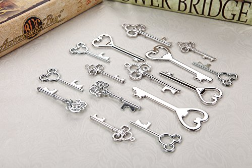 Assorted Skeleton Key Shaped Bottle Openers Wedding Favor Rustic Décor, 40 pieces (Mixed Silver)