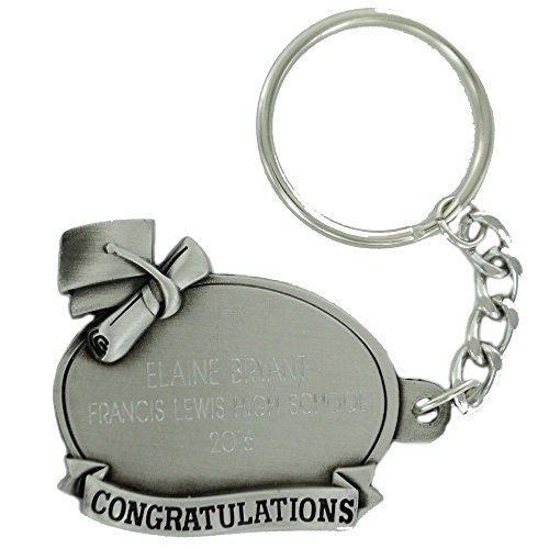 Graduate Antique Pewter with Split Keyring and Chain, includes Personalization - Pack of 3