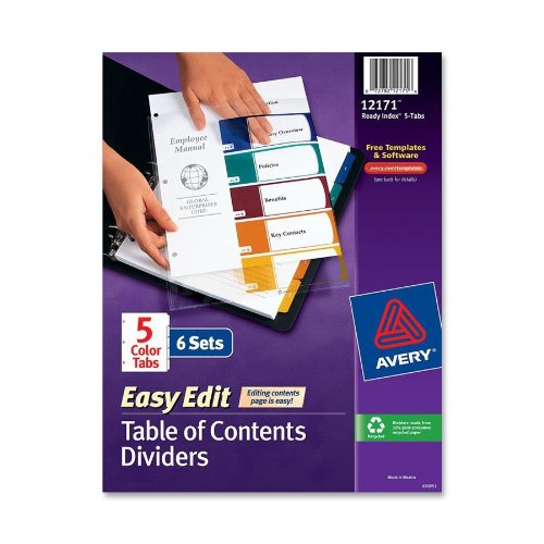 Avery Ready Index Table Of Contents Dividers, 5 Tab, Multi -Color, 6 Sets, (12171) by Avery
