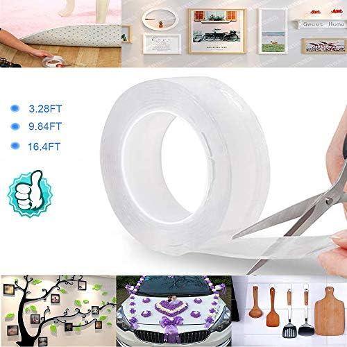 両面粘着テープ洗える再利用可能な粘着性のあるナノ多機能トレースレス ...