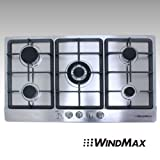 WINDMAX 34' Electric Stainless Steel Built-in Kitchen NG/LPG 5 Burner Gas Cooktop