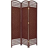 Oriental Furniture 5 1/2 ft. Tall Fiber Weave Room Divider - DarkRed - 3 Panel