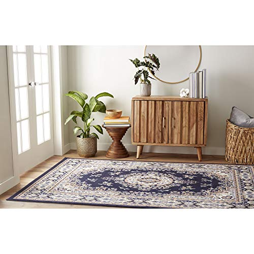Home Dynamix Premium Sakarya Traditional Area Rug, Oriental Navy Blue -