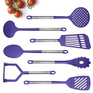 COOK With COLOR 7 Piece Nylon Cooking Utensil Set with Gunmetal Handles - (Lavender)