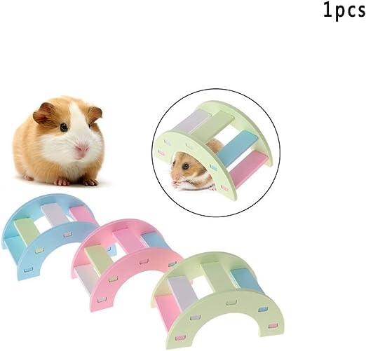 Ogquaton - Juguete de hamster de alta calidad, puente de madera colorido, juguete de sierra, animales pequeños, cobayas, ardilla, escalera divertida: Amazon.es: Amazon.es