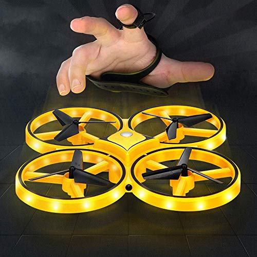 Light-AL Gesture Remote Control Quadcopter Intelligent Suspension Induction Aircraft Drone Watch Induction Intelligent Children's Toys (Yellow) ()