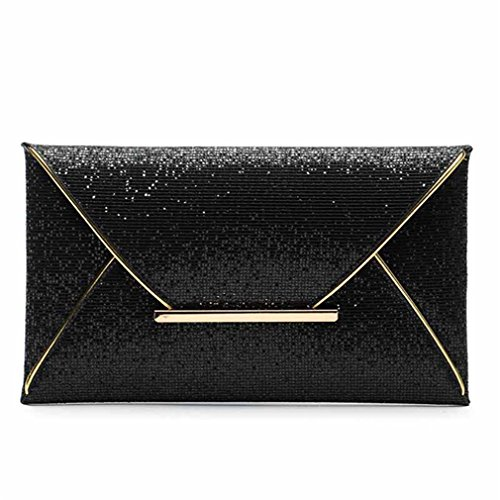 Women Handbags Clutch Purses Sequined Envelop Black Party Small Bags Evening PU Female Bag Hand Bags PpOPHnqg