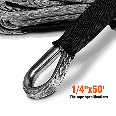 ZESUPER Synthetic Winch Rope1/4''x 49' 10000LBs Winch Rope Cable with Sheath Winches for Winches SUV ATV UTV Vehicle Boat Ramsey Car (Gray): Automotive
