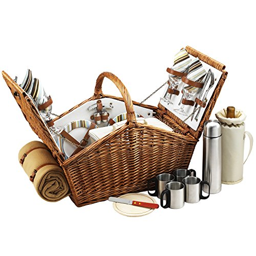 Picnic at Ascot Huntsman English-Style Willow Picnic Basket with Service for 4,  Coffee Set and Blanket- Designed, Assembled & Quality Approved in the USA ()