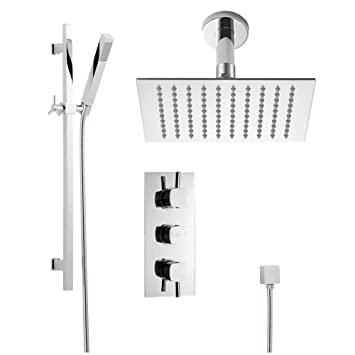 arco shower system complete set with triple brass valve 8u0026quot rainfall fixed head