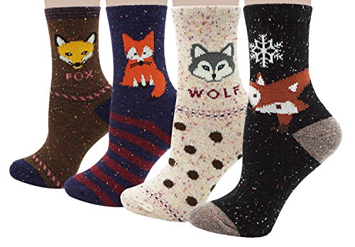 Bienvenu Women's 4 Pack Animal Socks Winter Cotton Thick Crew Socks, Style 2