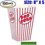 popcorn boxes mint - popcorn box cardboard Red and White Striped Popcorn Boxes Popcorn Bucket for Movie Theater , Carnival, party, circus,(100, 8