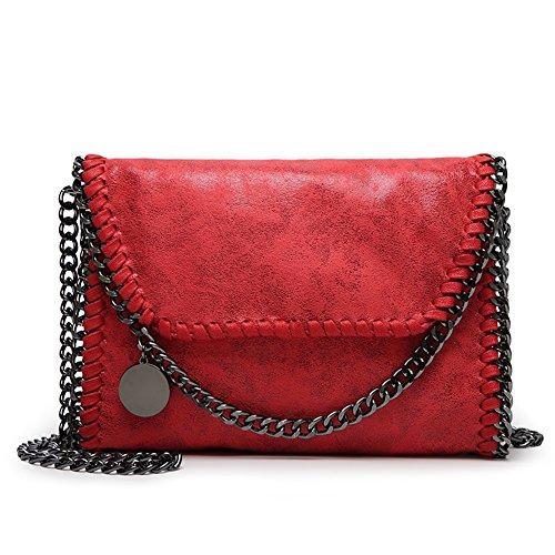 Strap Handbags Leather PU KAMIERFA Red Evening Women for Designer Chain Clutch with Metallic Cross Bags Bag Body qqxXZF17