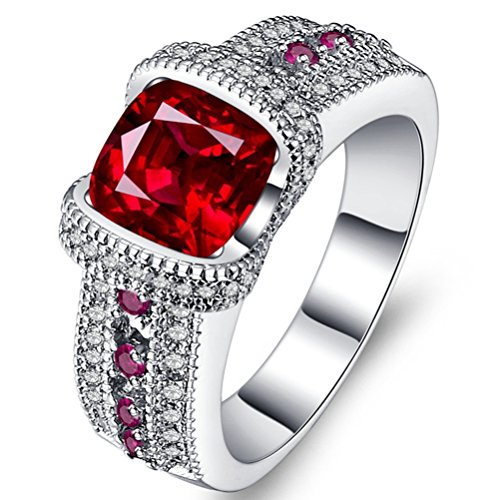Women's Classic Wedding Band Rings 18K Gold Plated Eternity Created Solitaire Ruby Promise Rings Size 5